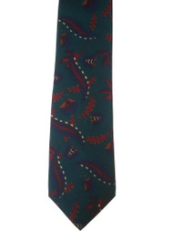 Outlet Center: Papillon 100% Printed Silk Tie - Feather Design on Teal