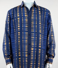 Bassiri Blue & Gold Modern Linear Design Long Sleeve Camp Shirt