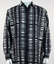 Bassiri Black Grey & White Modern Linear Design Long Sleeve Camp Shirt