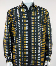 Bassiri Black Gold & White Modern Linear Design Long Sleeve Camp Shirt