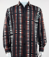Bassiri Black, Red & White Modern Linear Design Long Sleeve Camp Shirt