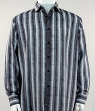Bassiri Grey-Black Abstract Stripes Long Sleeve Camp Shirt