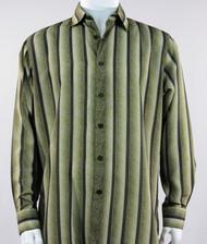 Bassiri Olive Abstract Stripes Long Sleeve Camp Shirt