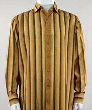 Bassiri Marigold Abstract Stripes Long Sleeve Camp Shirt