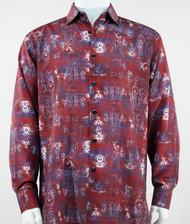 Bassiri Red Baroque Pattern Long Sleeve Camp Shirt