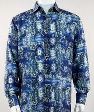 Bassiri Blue Baroque Pattern Long Sleeve Camp Shirt