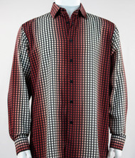 Bassiri Brick Red Box & Faded Stripe Design Long Sleeve Camp Shirt