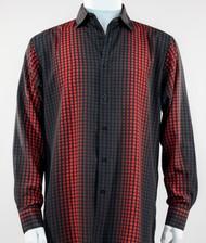 Bassiri Red Box & Faded Stripe Design Long Sleeve Camp Shirt