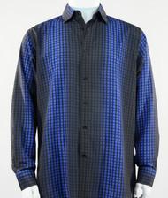 Bassiri Royal Box & Faded Stripe Design Long Sleeve Camp Shirt