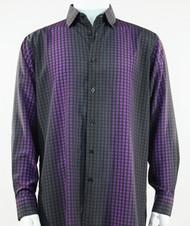 Bassiri Purple Box & Faded Stripe Design Long Sleeve Camp Shirt