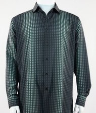 Bassiri Green Box & Faded Stripe Design Long Sleeve Camp Shirt