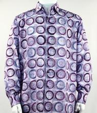Bassiri Purple Abstract Circle Design Long Sleeve Camp Shirt