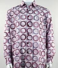 Bassiri Raspberry Abstract Circle Design Long Sleeve Camp Shirt
