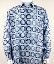 Bassiri Blue Abstract Circle Design Long Sleeve Camp Shirt