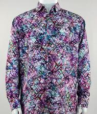 Bassiri Purple Abstract Swirl Design Long Sleeve Camp Shirt