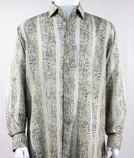 Bassiri Grey Abstract & Stripe Design Long Sleeve Camp Shirt
