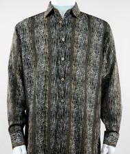 Bassiri Olive Abstract & Stripe Design Long Sleeve Camp Shirt