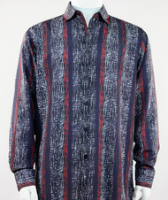 Bassiri Blue & Red Abstract & Stripe Design Long Sleeve Camp Shirt