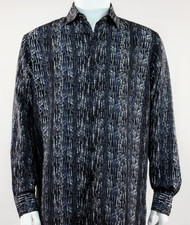 Bassiri Blue & Black Abstract & Stripe Design Long Sleeve Camp Shirt
