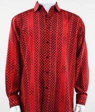Bassiri Red Tribal Design Long Sleeve Camp Shirt