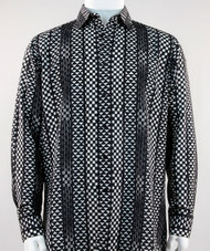 Bassiri Black Tribal Design Long Sleeve Camp Shirt
