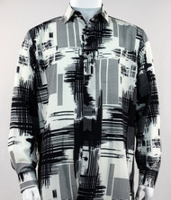 Bassiri Black Abstract Linear Drawing Design Long Sleeve Camp Shirt