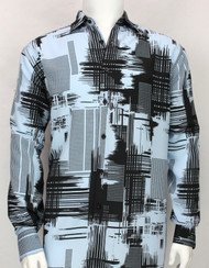Bassiri Blue Abstract Linear Drawing Design Long Sleeve Camp Shirt