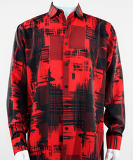 Bassiri Red Abstract Linear Drawing Design Long Sleeve Camp Shirt