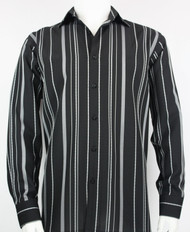 Bassiri  Black & Grey Stripe Design Long Sleeve Camp Shirt