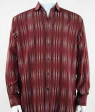 Bassiri Burgundy Optical Design Long Sleeve Camp Shirt
