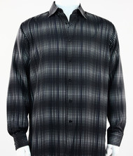 Bassiri Black & White Optical Design Long Sleeve Camp Shirt