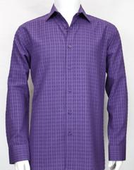 Bassiri Purple Windowpane Design Long Sleeve Camp Shirt