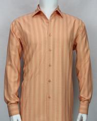 Bassiri Orange Faded Stripes Long Sleeve Camp Shirt