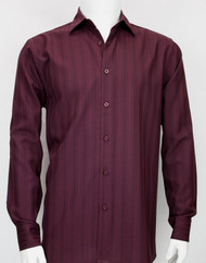 Bassiri Burgundy Faded Stripes Long Sleeve Camp Shirt