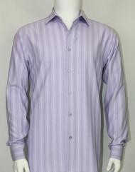 Bassiri Purple Faded Stripes Long Sleeve Camp Shirt