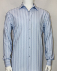Bassiri Blue Faded Stripes Long Sleeve Camp Shirt