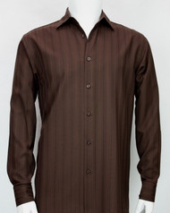Bassiri Brown Faded Stripes Long Sleeve Camp Shirt