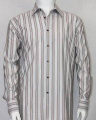 Bassiri Grey Multi Vertical Stripe Long Sleeve Camp Shirt