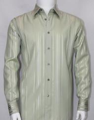 Bassiri Sage Vertical Satin Weave Long Sleeve Camp Shirt