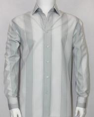 Bassiri Light Grey Large Stripes Long Sleeve Camp Shirt