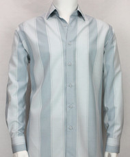Bassiri Aqua Blue Large Stripes Long Sleeve Camp Shirt
