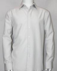 Bassiri Silver Micro Dot Pattern Long Sleeve Camp Shirt