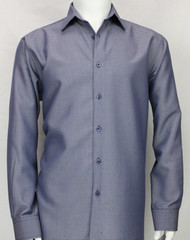 Bassiri Purple Micro Dot Pattern Long Sleeve Camp Shirt