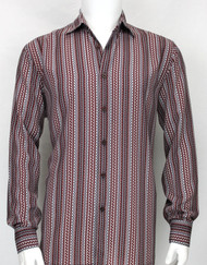 Bassiri Burgundy Squiggle Line Pattern Long Sleeve Camp Shirt