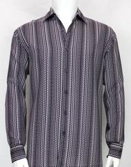 Bassiri Purple Squiggle Line Pattern Long Sleeve Camp Shirt