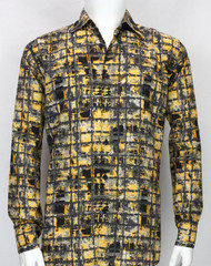 Bassiri Gold Retro Pattern Long Sleeve Camp Shirt