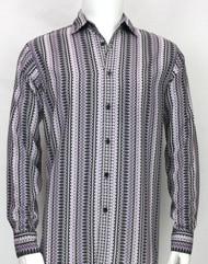 Bassiri Purple Spiral Design Long Sleeve Camp Shirt
