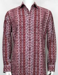 Bassiri Red Abstract Arrow Design Long Sleeve Camp Shirt
