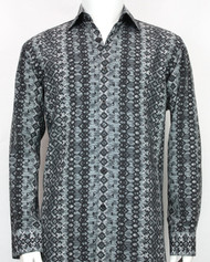Bassiri Slate Abstract Arrow Design Long Sleeve Camp Shirt