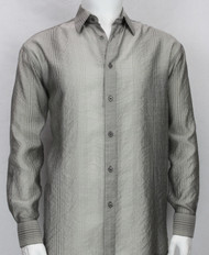 Bassiri Grey Stripe Waffle Design Long Sleeve Camp Shirt